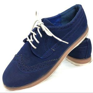 Qupid Blue Faux Suede Oxford Lace Up Loafers N34